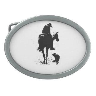 Hebilla del cinturón del vaquero y del perro hebillas cinturón ovales