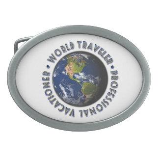 Hebilla del cinturón del viajero de mundo hebilla cinturón oval