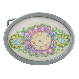 Hebilla del cinturón feliz de la flor hebillas de cinturón ovales