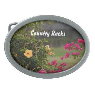 Hebilla del cinturón floral de las rocas de país hebillas de cinturón ovales
