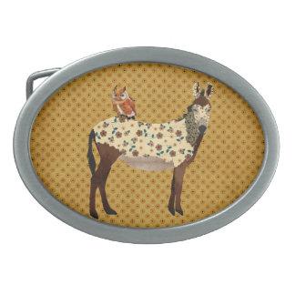 Hebilla del cinturón floral del burro y del búho hebilla cinturón oval
