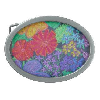 Hebilla del cinturón - flores vibrantes hebilla de cinturon oval
