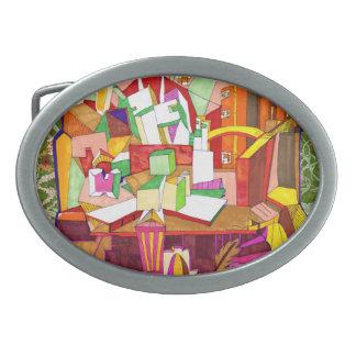 Hebilla del cinturón geométrica del arte abstracto hebillas de cinturon ovales