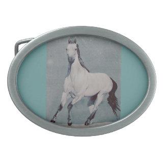 Hebilla del cinturón gris del caballo con la acuar hebilla cinturón oval