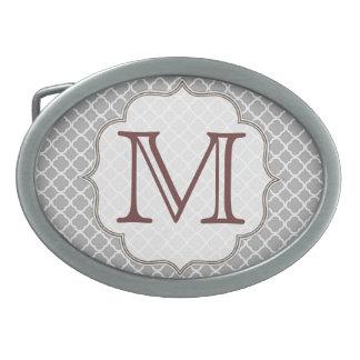 Hebilla del cinturón gris del monograma de hebillas de cinturon ovales