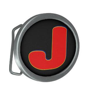 Hebilla del cinturón inicial de J Hebillas Cinturon Ovales