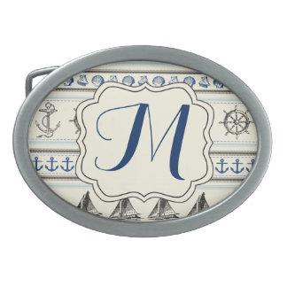 Hebilla del cinturón náutica del monograma de la hebillas cinturon ovales