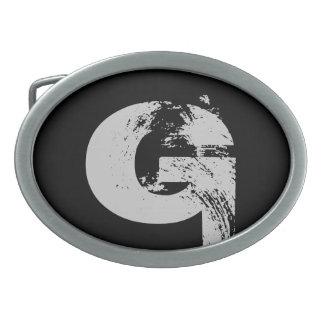 Hebilla del cinturón negra de G del alfabeto Hebillas De Cinturón Ovales
