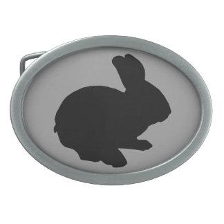 Hebilla del cinturón negra del conejito de pascua hebillas de cinturón ovales