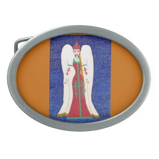 Hebilla del cinturón ortodoxa rusa del ángel hebilla cinturón oval