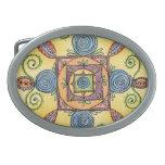 Hebilla del cinturón oval colorida de la mandala c hebillas cinturon ovales