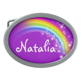 Hebilla del cinturón oval púrpura del arco iris de hebilla de cinturón oval