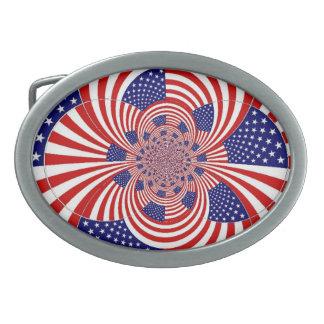 Hebilla del cinturón patriótica de la bandera hebillas de cinturon ovales