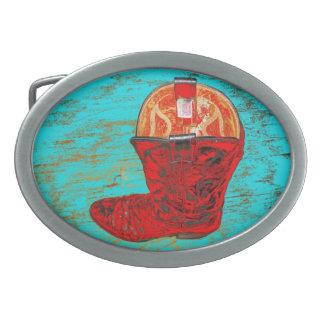 Hebilla del cinturón roja de la bota de vaquero hebillas de cinturon