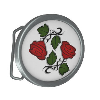 Hebilla del cinturón roja del beso de la flor hebilla cinturón oval