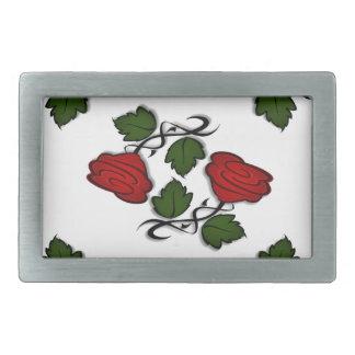 Hebilla del cinturón roja del beso de la flor hebilla cinturón rectangular