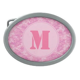 Hebilla del cinturón rosada del monograma del hebillas cinturón ovales