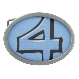 Hebilla del cinturón tonta del azul del número 4 hebillas de cinturón ovales