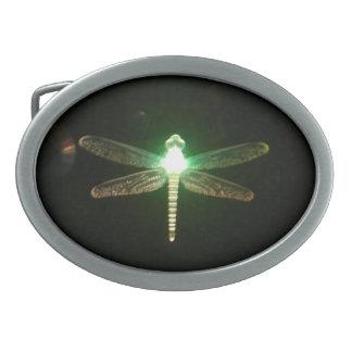 Hebilla del cinturón verde de la libélula que bril hebillas cinturón ovales