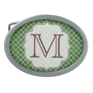 Hebilla del cinturón verde del monograma de hebilla de cinturón oval