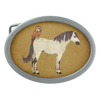 Hebilla del cinturón violeta del caballo y del búh hebilla cinturon oval