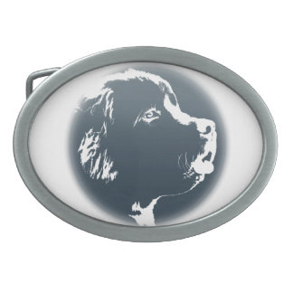 Hebilla del perrito de Terranova de la hebilla del Hebilla De Cinturon Oval