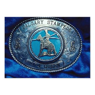 """Hebilla del trofeo del rodeo del vaquero, Alberta, Invitación 5"""" X 7"""""""
