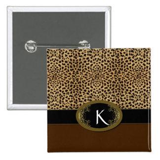 Hebilla encima del leopardo pin cuadrada 5 cm