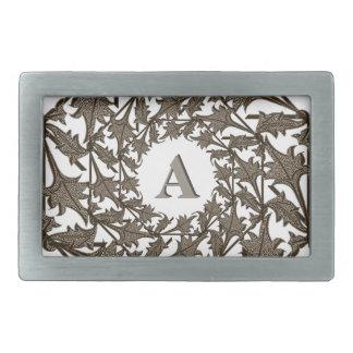 Hebilla - hojas e inicial del hierro labrado hebillas cinturón rectangulares