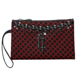 Hebilla negra roja del monograma de la cadena de