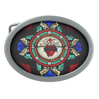 Hebilla sagrada del corazón (vitral) hebillas cinturon ovales