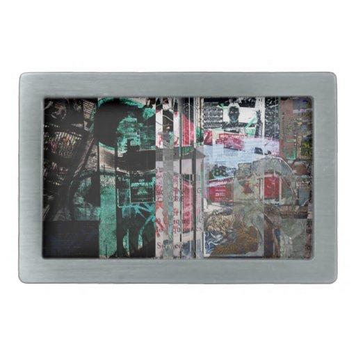 hebilla urbana del collage de la música hebilla cinturon rectangular