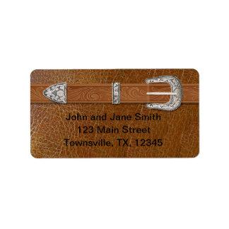 Hebilla y cuero de plata etiquetas de dirección