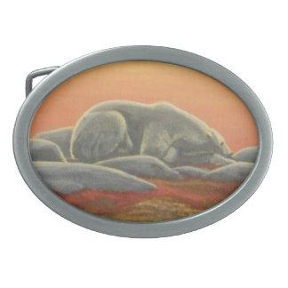 Hebillas árticas del arte del oso de la hebilla de hebilla cinturón oval