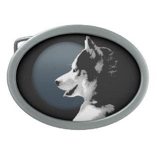 Hebillas fornidas del perrito del husky siberiano  hebillas cinturón ovales