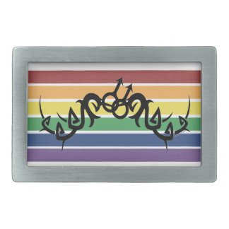 Hebillas tribales de los símbolos del arco iris de hebillas cinturón rectangulares