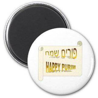 Hebreo feliz de Purim - de Purim Sameach Imán Redondo 5 Cm