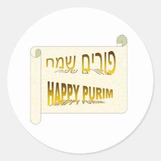 Hebreo feliz de Purim - de Purim Sameach Pegatina Redonda