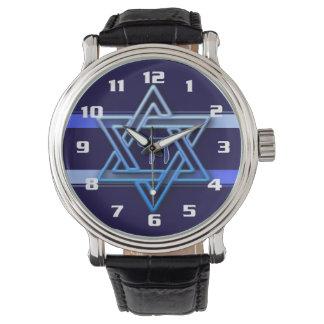Hebreo fresco y elegante Chai y estrella de David Reloj