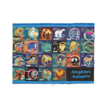 Hebrew Alephbet Animal Stickers-Fleece Blanket