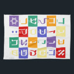 """Hebrew Alphabet Rainbow Kitchen Towel<br><div class=""""desc"""">Although the playful tone of this piece is great for kids,  its clean lines and graphic punch will appeal to any lover of letters.</div>"""