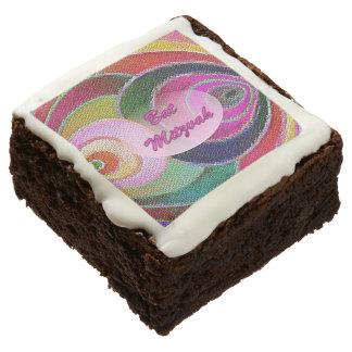 Hebrew Bat Mitzvah Multicolored Spirals Brownies