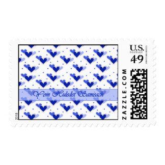 Hebrew Birthday Blue Hearts Dots White Stamp