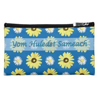Hebrew Birthday Daisies Ocean Blue Cosmetic Bag