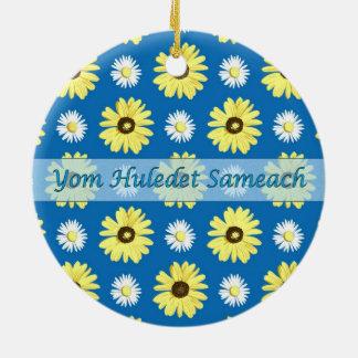 Hebrew Birthday Daisies Ocean Blue Round Ornament