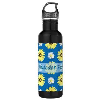 Hebrew Birthday Daisies Ocean Blue Stainless Steel Water Bottle