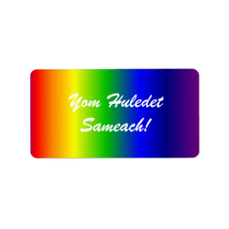 Hebrew Birthday Rainbow Colors Label