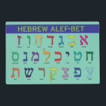 "Hebrew/English Alef/Aleph Bet &amp; Alphabet Placemat<br><div class=""desc"">This awesome double-sided placemat has the Hebrew alef-bet on one side with the names of the letters written out phonetically in English and the English alphabet on the reverse. A perfect gift for your budding bilingual child!</div>"