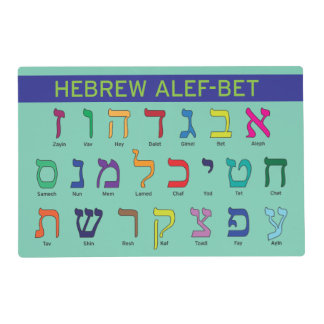 Hebrew/English Alef/Aleph Bet & Alphabet Placemat Laminated Placemat