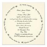 """Hebrew Jewish Wedding Invitation Cream Square Ani 5.25"""" Square Invitation Card"""
